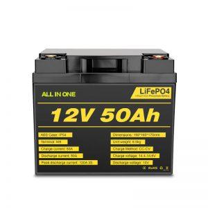 12V 50Ah polnilna baterija za globoki cikel Lifepo4 za elektroenergetski sistem